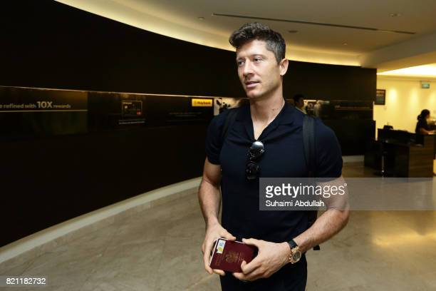 Robert Lewandowski of FC Bayern Muenchen arrives at Jet Quay Private Terminal ahead of the International Champions Cup on July 23 2017 in Singapore