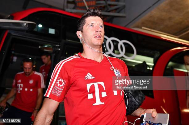 Robert Lewandowski of FC Bayern Muenchen arrives during the International Champions Cup match between Chelsea FC and FC Bayern Munich at National...