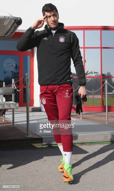 Robert Lewandowski of FC Bayern Muenchen arrives for a training session at the club's Saebener Strasse training ground on February 14 2017 in Munich...