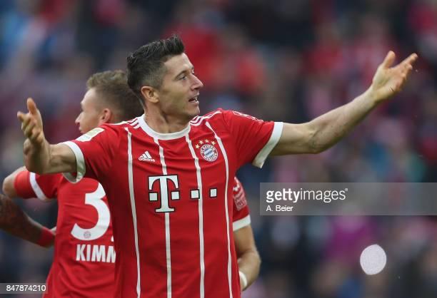 Robert Lewandowski of FC Bayern Muenchen celebrates his first goal during the Bundesliga match between FC Bayern Muenchen and 1 FSV Mainz 05 at...