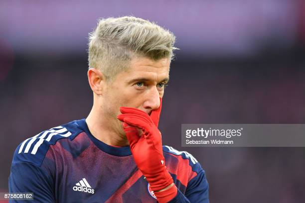 Robert Lewandowski of FC Bayern Muenchen gestures prior to the Bundesliga match between FC Bayern Muenchen and FC Augsburg at Allianz Arena on...
