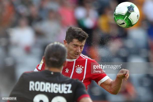 Robert Lewandowski of FC Bayern Muenchen in action during the 2017 International Champions Cup football match between AC Milan and FC Bayern Muenchen...