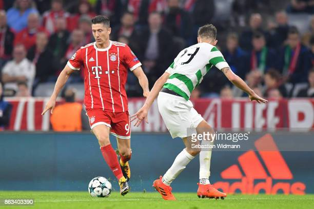 Robert Lewandowski of FC Bayern Muenchen in action during the UEFA Champions League group B match between Bayern Muenchen and Celtic FC at Allianz...
