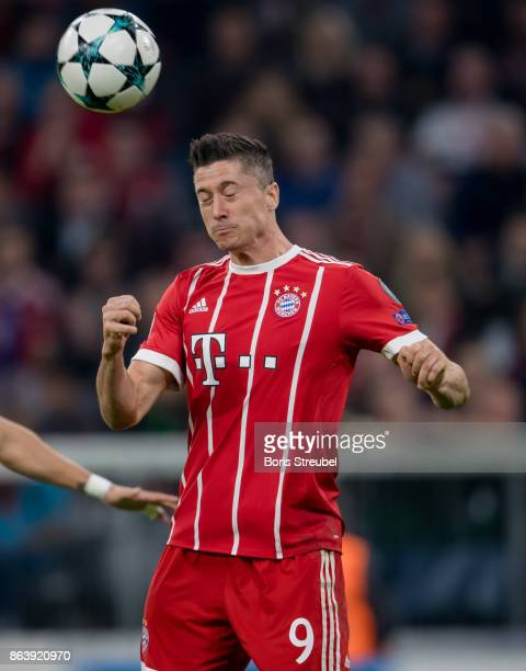 Robert Lewandowski of FC Bayern Muenchen jumps for a header during the UEFA Champions League group B match between Bayern Muenchen and Celtic FC at...