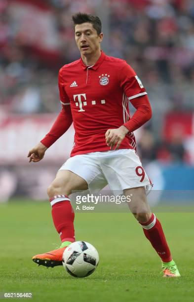 Robert Lewandowski of FC Bayern Muenchen kicks the ball during the Bundesliga match between Bayern Muenchen and Eintracht Frankfurt at Allianz Arena...