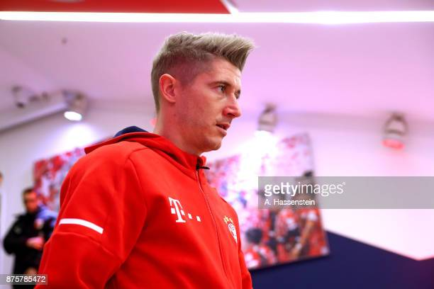 Robert Lewandowski of FC Bayern Muenchen looks on at the players tunnel prior to the Bundesliga match between FC Bayern Muenchen and FC Augsburg at...
