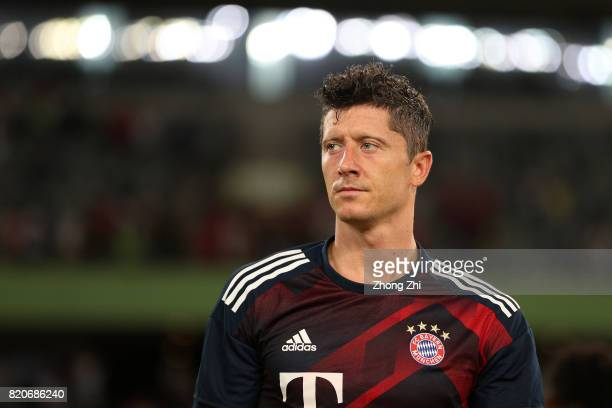 Robert Lewandowski of FC Bayern Muenchen looks on during the 2017 International Champions Cup football match between AC Milan and FC Bayern Muenchen...