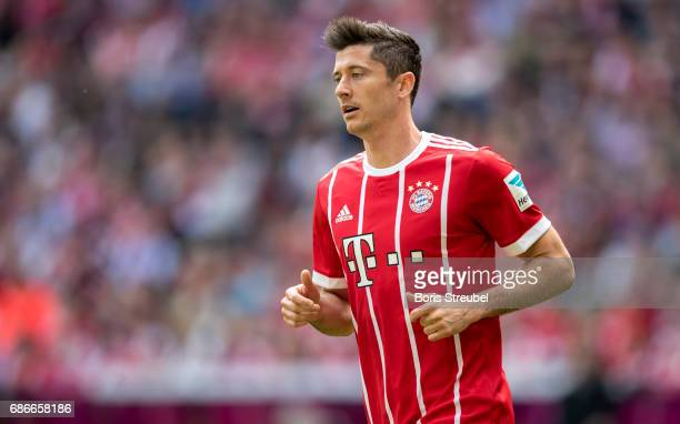 Robert Lewandowski of FC Bayern Muenchen looks on during the Bundesliga match between Bayern Muenchen and SC Freiburg at Allianz Arena on May 20 2017...