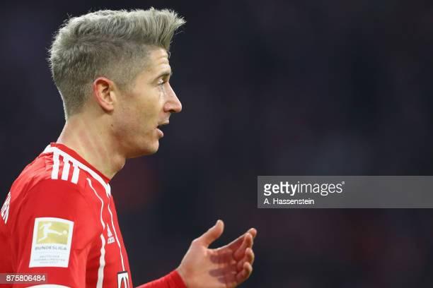 Robert Lewandowski of FC Bayern Muenchen looks on during the Bundesliga match between FC Bayern Muenchen and FC Augsburg at Allianz Arena on November...