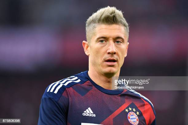 Robert Lewandowski of FC Bayern Muenchen looks on prior to the Bundesliga match between FC Bayern Muenchen and FC Augsburg at Allianz Arena on...
