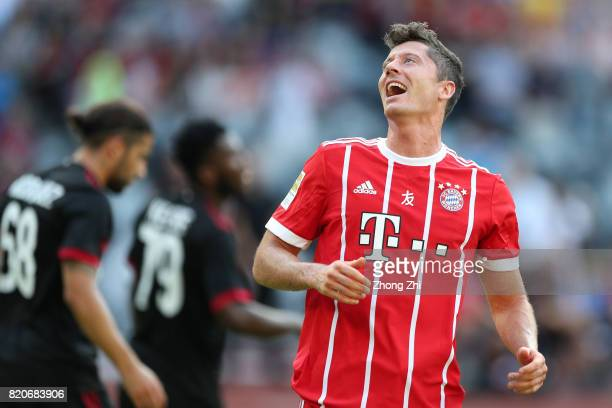 Robert Lewandowski of FC Bayern Muenchen reacts during the 2017 International Champions Cup football match between AC Milan and FC Bayern Muenchen on...