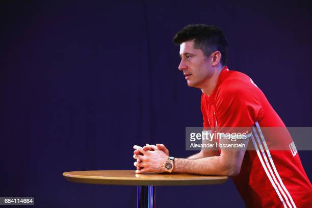 Robert Lewandowski of FC Bayern Muenchen smiles after a fun table top football match at Paulaner headquarter Munich on May 17 2017 in Munich Germany