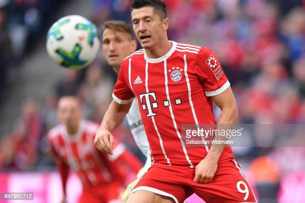Robert Lewandowski of FC Bayern Muenchen watches the ball during the Bundesliga match between FC Bayern Muenchen and 1 FSV Mainz 05 at Allianz Arena...