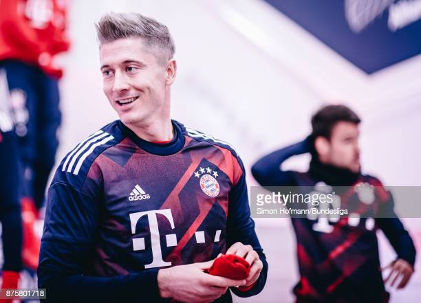 Robert Lewandowski of Muenchen is seen in the tunnel during the Bundesliga match between FC Bayern Muenchen and FC Augsburg at Allianz Arena on...