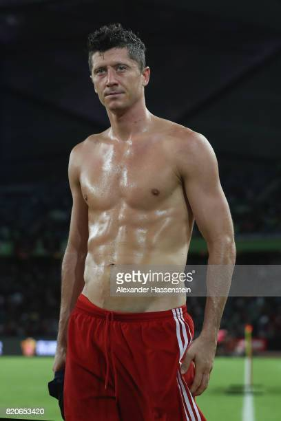 Robert Lewandowski of Muenchen reacts after the International Champions Cup Shenzen 2017 match between Bayern Muenchen and AC Milan at on July 22...