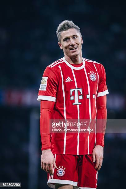 Robert Lewandowski of Muenchen reacts during the Bundesliga match between FC Bayern Muenchen and FC Augsburg at Allianz Arena on November 18 2017 in...