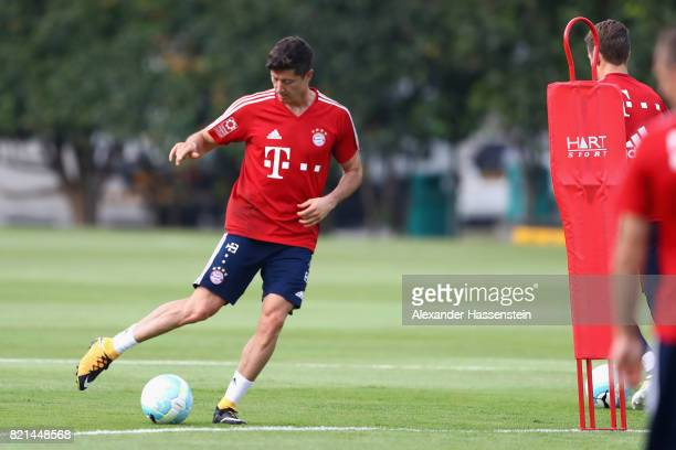 Robert Lewandowski of Muenchen runs with the ball during a training session at Geylang Field during the Audi Summer Tour 2017 on July 24 2017 in...