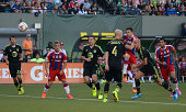 Robert Lewandowski of Muenchen scores his teams first goal during the MLS AllStar game between the MLS AllStars and FC Bayern Muenchen at Providence...