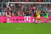 Robert Lewandowski of Muenchen scores the second team goal during the Bundesliga match between FC Bayern Muenchen and 1899 Hoffenheim at Allianz...