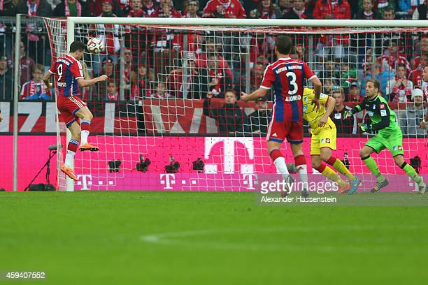 Robert Lewandowski of Muenchen scores the second team goal during the Bundesliga match between FC Bayern Muenchen and 1899 Hoffenheim at Allianz...