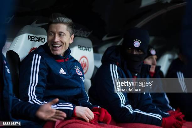 Robert Lewandowski of Muenchen smiles during the Bundesliga match between Eintracht Frankfurt and FC Bayern Muenchen at CommerzbankArena on December...