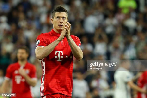 Robert Lewandowski of Munich gestures during the UEFA Champions League Quarter Final second leg match between Real Madrid CF and FC Bayern Muenchen...