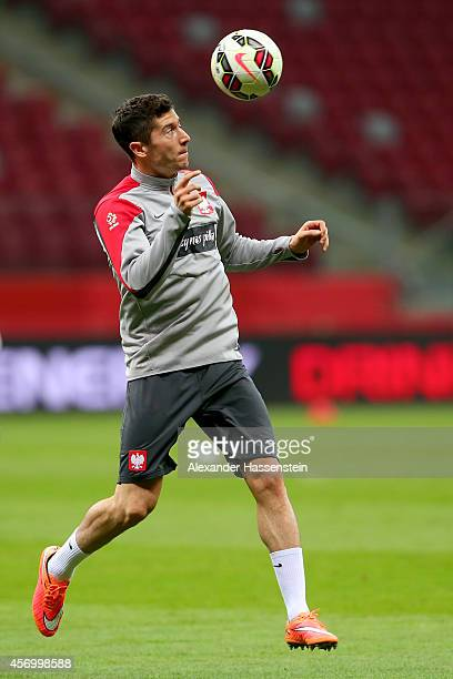 Robert Lewandowski of Poland attends a training session ahead of their UEFA EURO 2016 qualifying match against Germany at Narodowy Stadium on October...