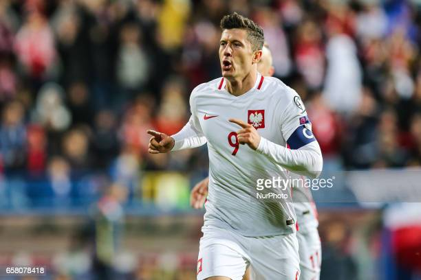 Robert Lewandowski of Poland celebrates a goal during the FIFA World Cup 2018 qualification football match between Montenegro and Poland in Podgorica...