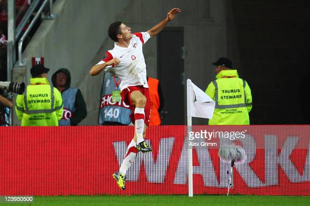 Robert Lewandowski of Poland celebrates his team's first goal during the International friendly match between Poland and Germany at PGE Arena on...