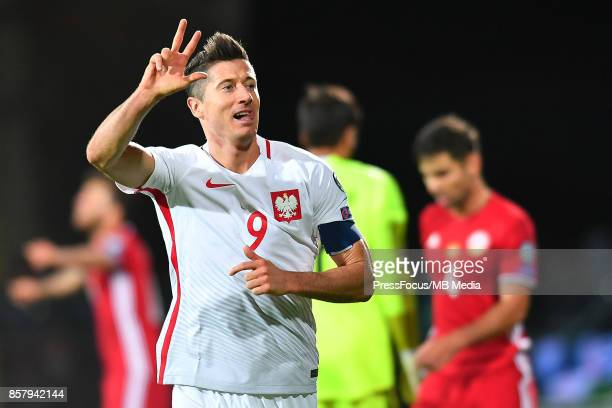 Robert Lewandowski of Poland celebrates scoring his third goal during the FIFA 2018 World Cup Qualifier between Armenia and Poland on October 5 2017...