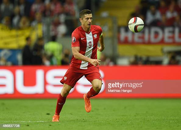 Robert Lewandowski of Poland controls the ball during the EURO 2016 Qualifier Group D match between Germany and Poland at CommerzbankArena on...