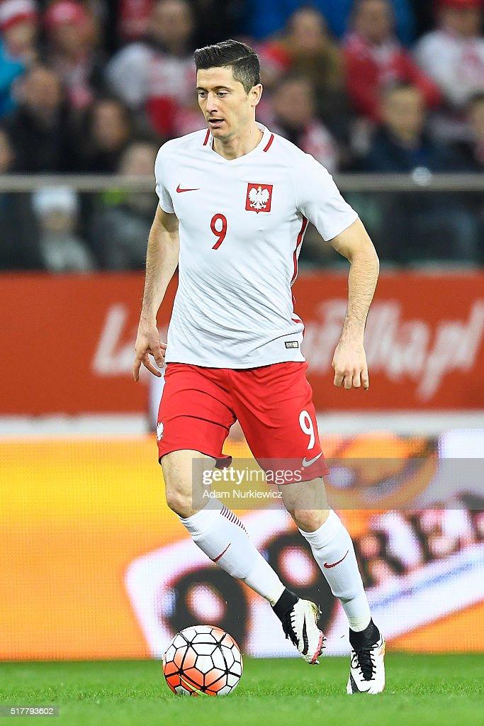 Robert Lewandowski of Poland controls the ball during the international friendly soccer match between Poland and Finland at the Municipal Stadium on...