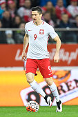 Robert Lewandowski of Poland controls the ball during the international friendly soccer match between Poland and Finland at the Municipal Stadium on...