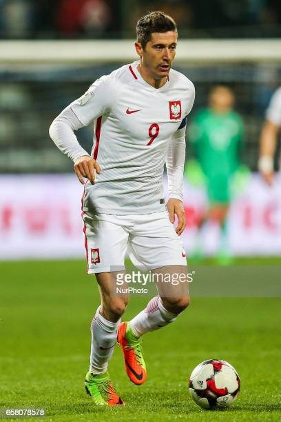 Robert Lewandowski of Poland during the FIFA World Cup 2018 qualification football match between Montenegro and Poland in Podgorica Montenegro on...