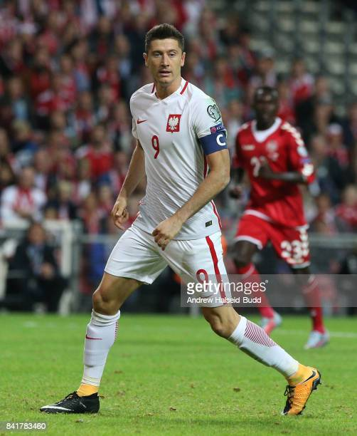 Robert Lewandowski of Poland in action during the FIFA 2018 World Cup Qualifier between Denmark and Poland at Parken Stadion on September 1 2017 in...