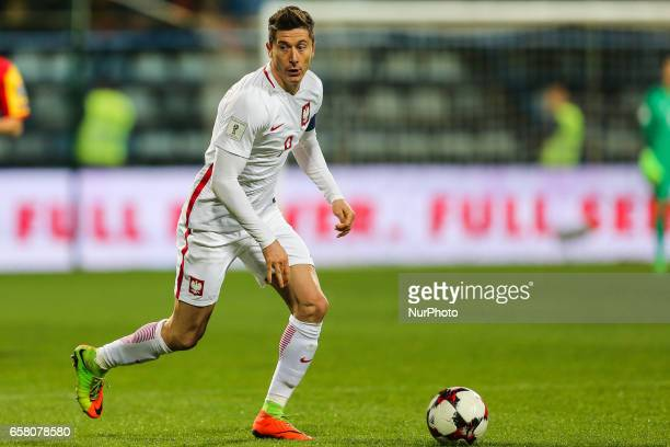 Robert Lewandowski of Poland in action during the FIFA World Cup 2018 qualification football match between Montenegro and Poland in Podgorica...