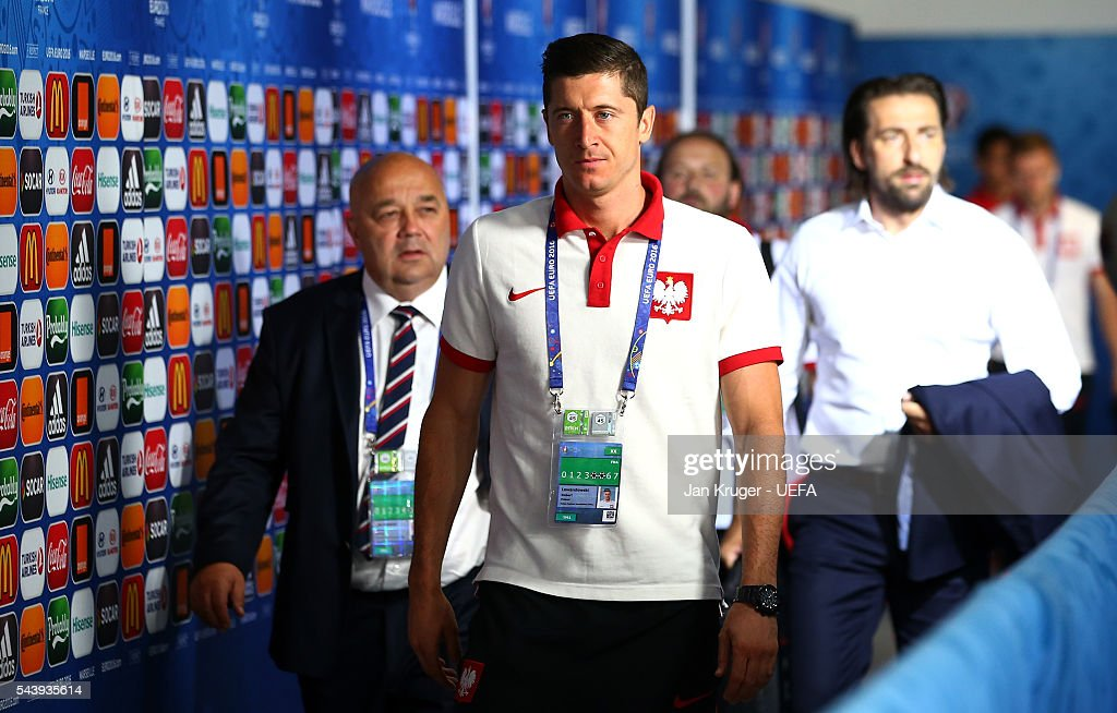 <a gi-track='captionPersonalityLinkClicked' href=/galleries/search?phrase=Robert+Lewandowski&family=editorial&specificpeople=5532633 ng-click='$event.stopPropagation()'>Robert Lewandowski</a> of Poland is seen on arrival at the stadium prior to the UEFA EURO 2016 quarter final match between Poland and Portugal at Stade Velodrome on June 30, 2016 in Marseille, France.