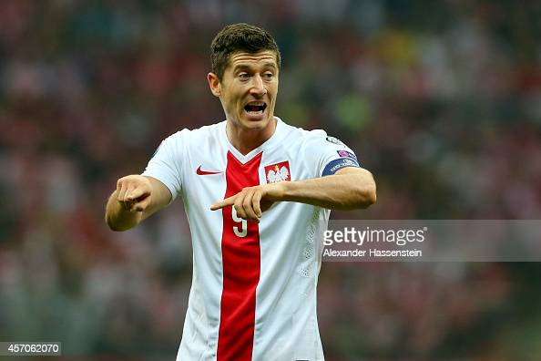 Robert Lewandowski of Poland reacts during of the EURO 2016 Group D qualifying match between Poland and Germany at Narodowy Stadium on October 11...