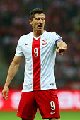 Robert Lewandowski of Poland reacts during the EURO 2016 Group D qualifying match between Poland and Germany at Narodowy Stadium on October 11 2014...