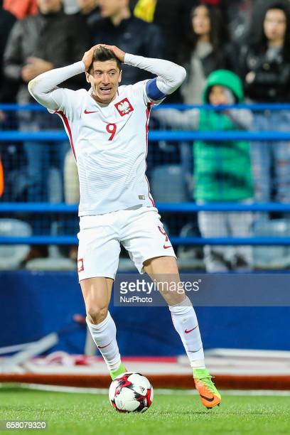 Robert Lewandowski of Poland reacts during the FIFA World Cup 2018 qualification football match between Montenegro and Poland in Podgorica Montenegro...