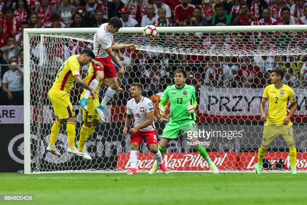 Robert Lewandowski score his 2nd goal to Ciprian Tatarusanu during the FIFA World Cup 2018 qualification football match between Poland and Romania in...
