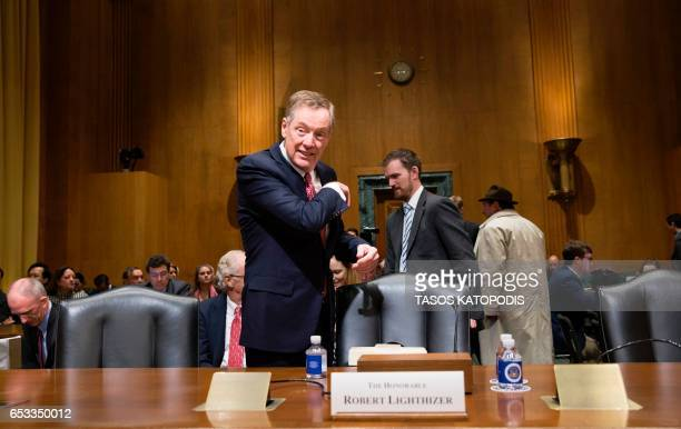 Robert Lighthizer nominee for US Trade Representative is seen at the Senate Finance Committee before his hearing in Washington DC March 14 2017 / AFP...