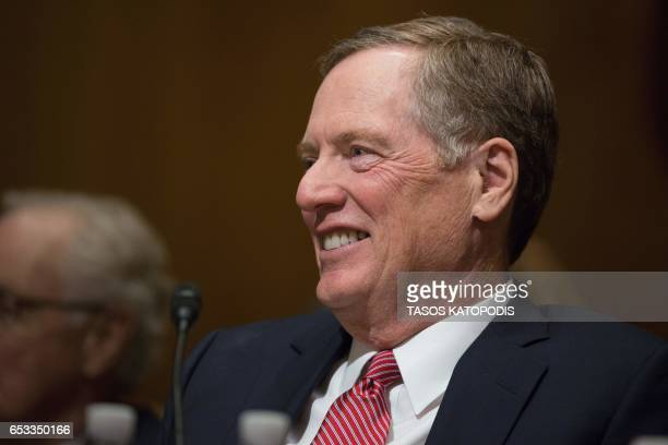 Robert Lighthizer nominee for US Trade Representative smiles at the Senate Finance Committee full hearing on his nomination in Washington DC March 14...