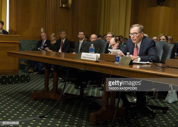 Robert Lighthizer nominee for US Trade Representative speaks at the Senate Finance Committee full hearing on the nomination of the US Trade...