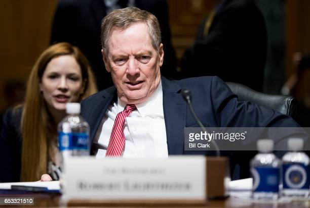 Robert Lighthizer nominee to be US trade representative prepares to testify during his confirmation hearing in the Senate Finance Committee on...