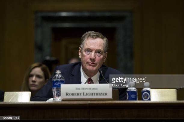 Robert Lighthizer US trade representative nominee for President Donald Trump listens during a Senate Finance Committee confirmation hearing in...