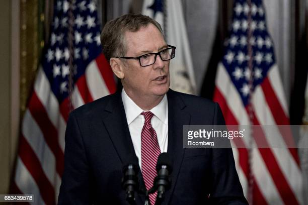 Robert Lighthizer US trade representative speaks after being sworn in during a ceremony in the Indian Treaty Room of the Eisenhower Executive Office...