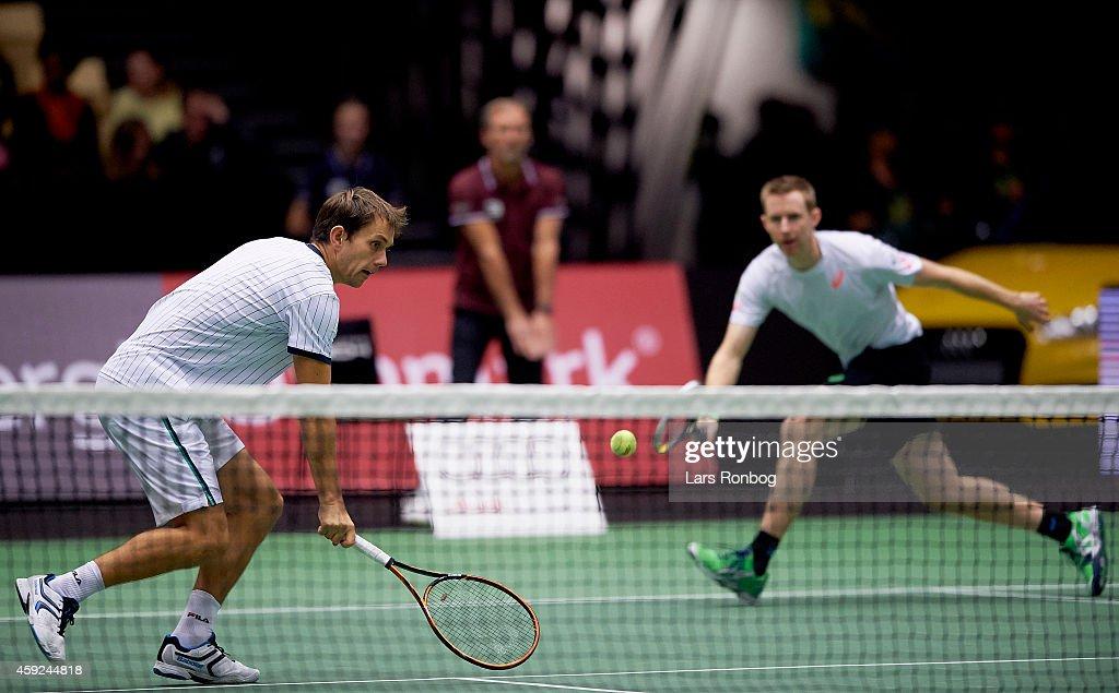 Robert Lindstedt of Sweden and Frederik Loechte Nielsen of Denmark in cation during the Energi Danmark Champions Battle at Jyske Bank Boxen Arena on...