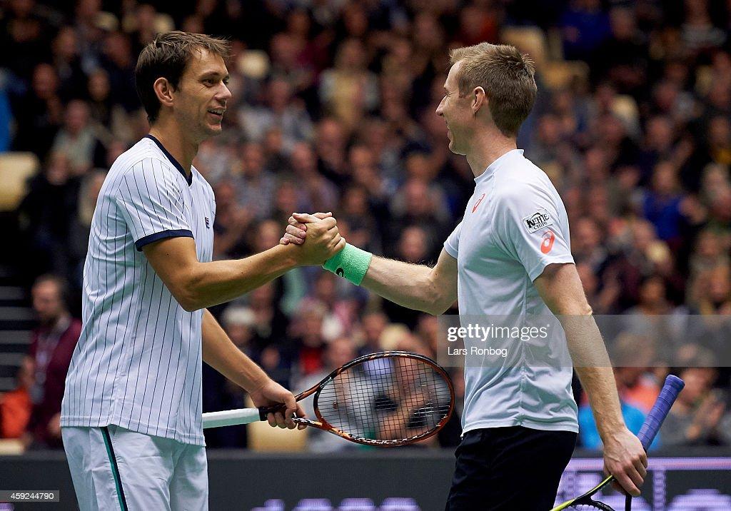 Robert Lindstedt of Sweden and Frederik Loechte Nielsen of Denmark celebrate their victory after the Energi Danmark Champions Battle at Jyske Bank...