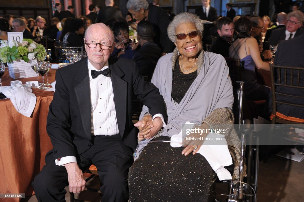 Robert Loomis and <a gi-track='captionPersonalityLinkClicked' href=/galleries/search?phrase=Maya+Angelou&family=editorial&specificpeople=772742 ng-click='$event.stopPropagation()'>Maya Angelou</a> attend the Norman Mailer Center's Fifth Annual Benefit Gala sponsored by Van Cleef & Arpels at the New York Public Library on October 17, 2013 in New York City.